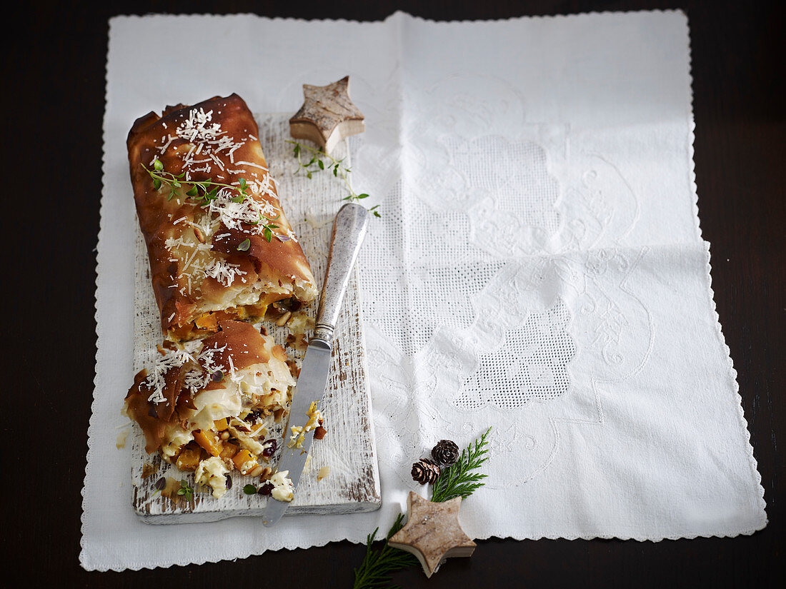 Butternut goat cheese strudel