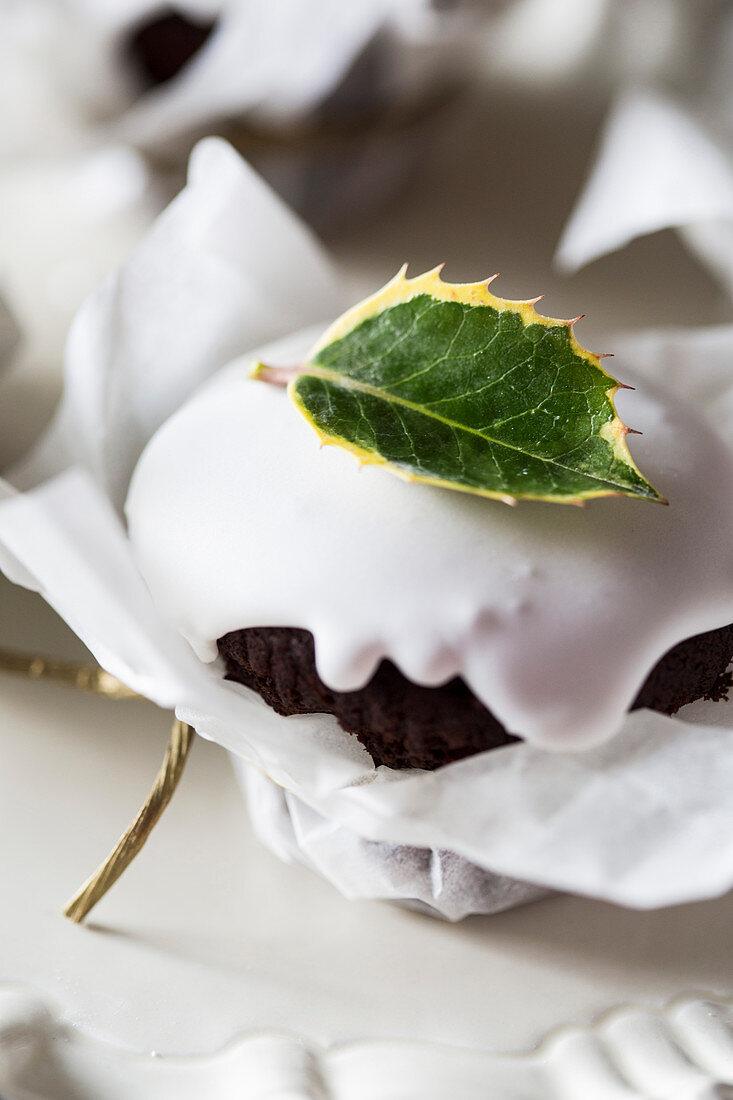 A Christmas cupcake