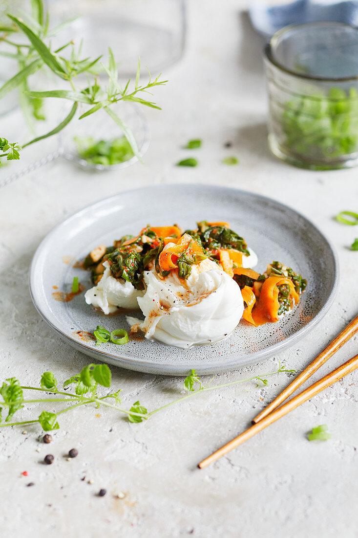 Swiss chard kimchi with mozzarella