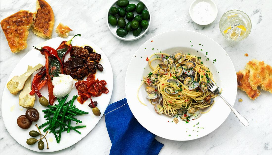 Antipasti and Spaghetti Vongole