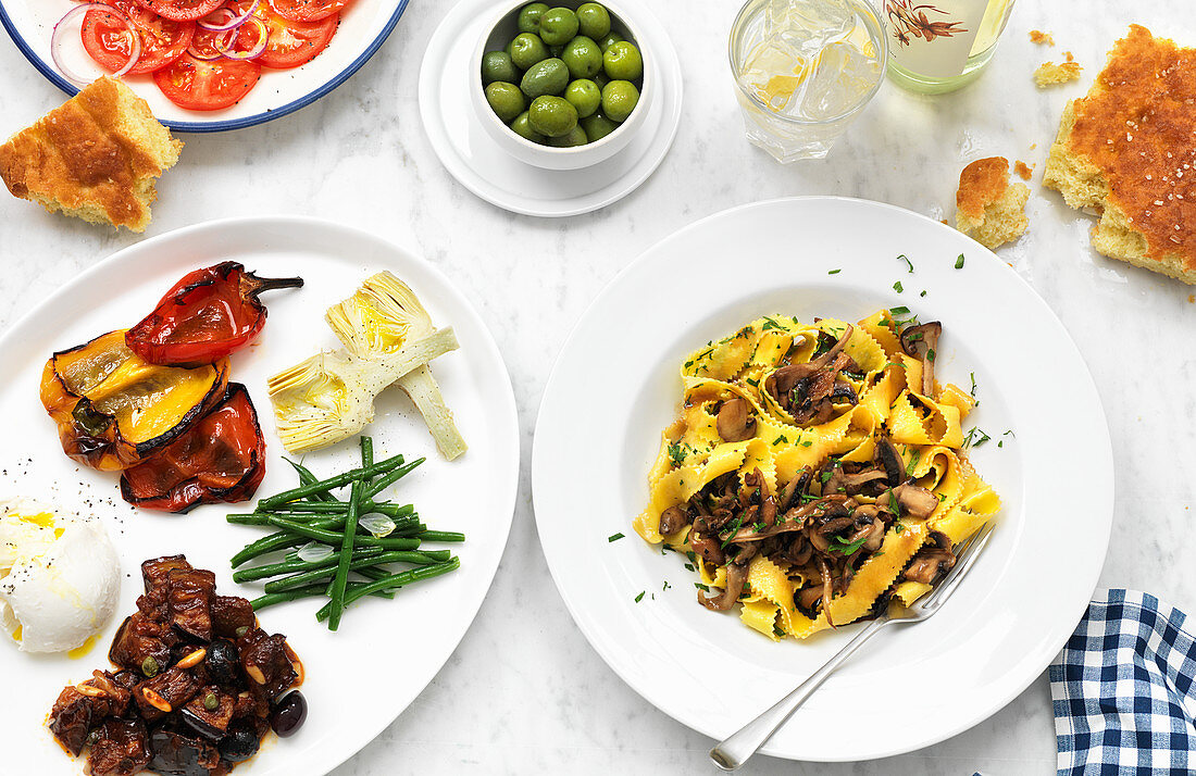 Italien antipasti and mushroom pappardelle