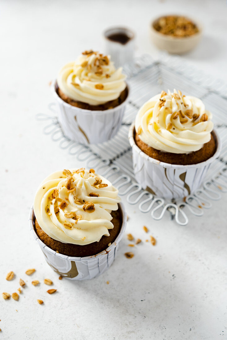 Apple hazelnut muffins sweetened with honey and tagatose with frosting