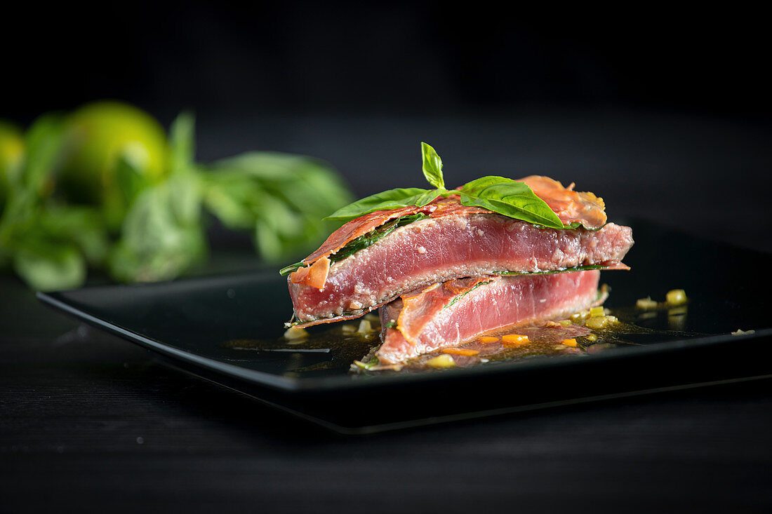 Bluefin tuna with basil ham and chicken demiglace