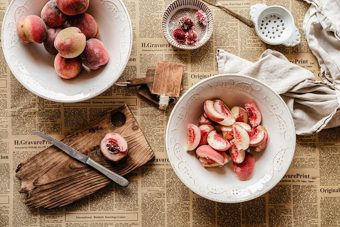 Cutting peaches
