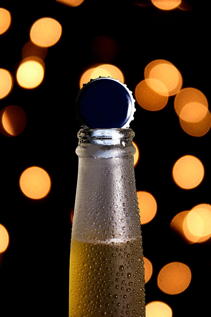 Bottleneck of cold beer with shiny cap