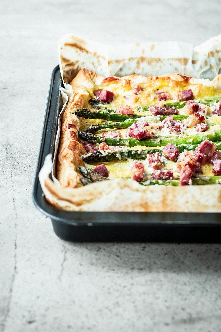 Asparagus carbonara tart