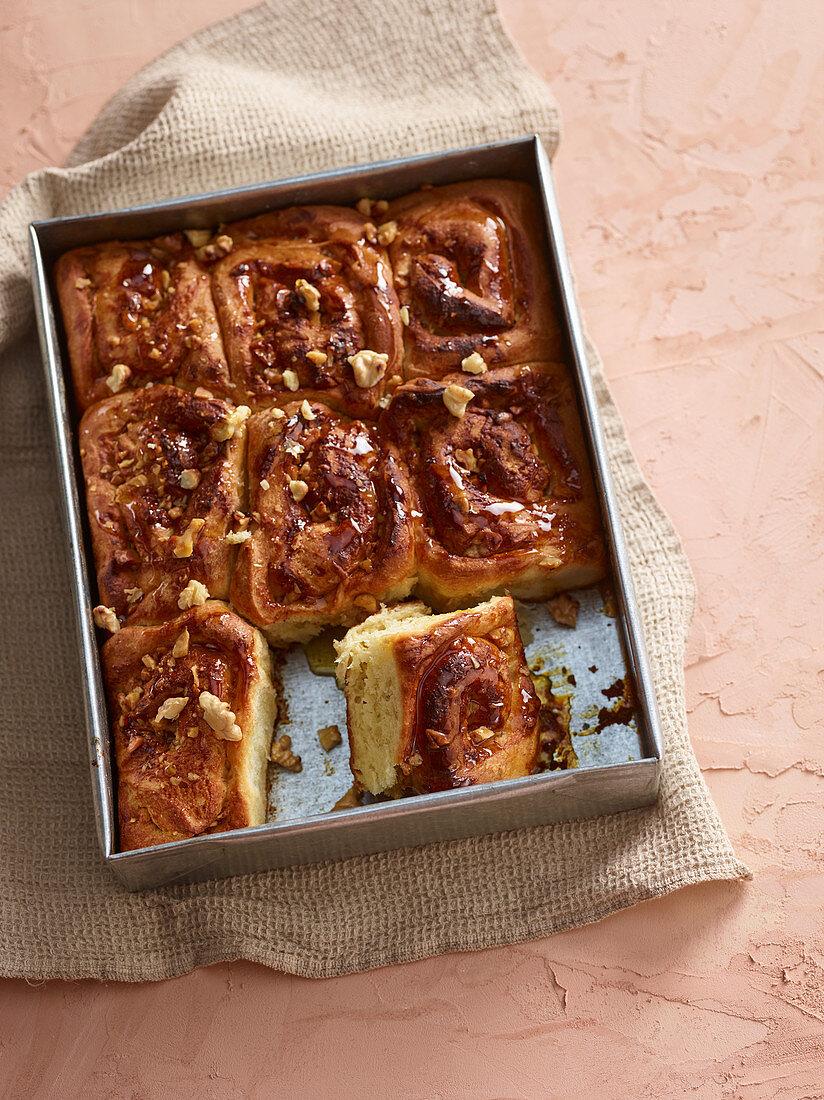 Yeast dough honey and walnut buns