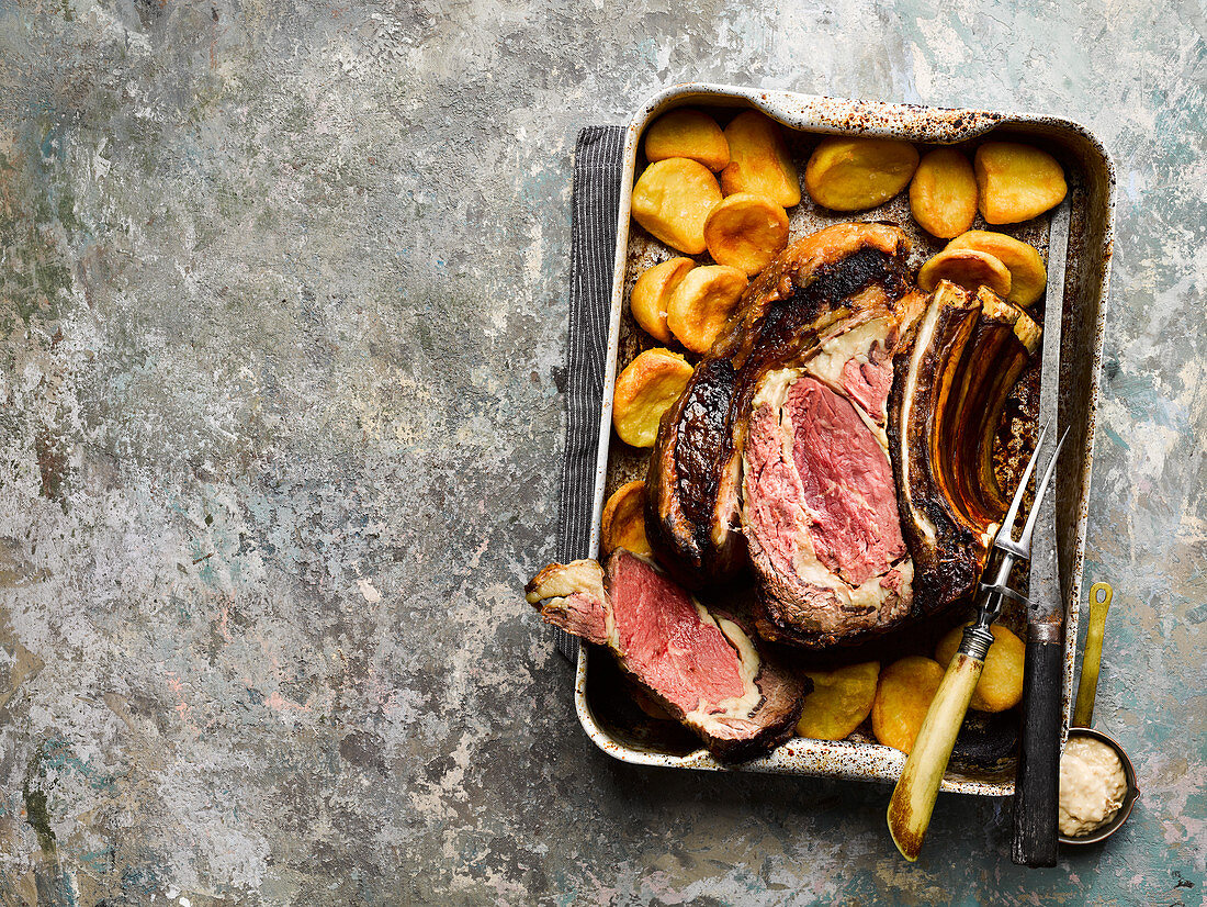 Roast rib of English beef