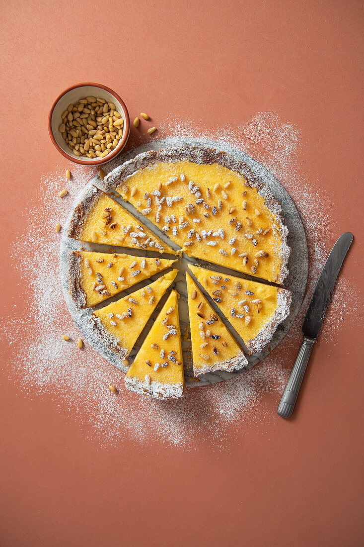 Torta della nonna (Italian ricotta and lemon tart wih pine nuts)