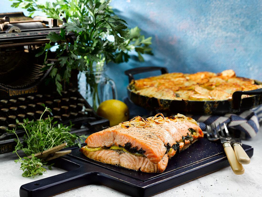Baked Sea Trout With Potato Sorrel Gratin