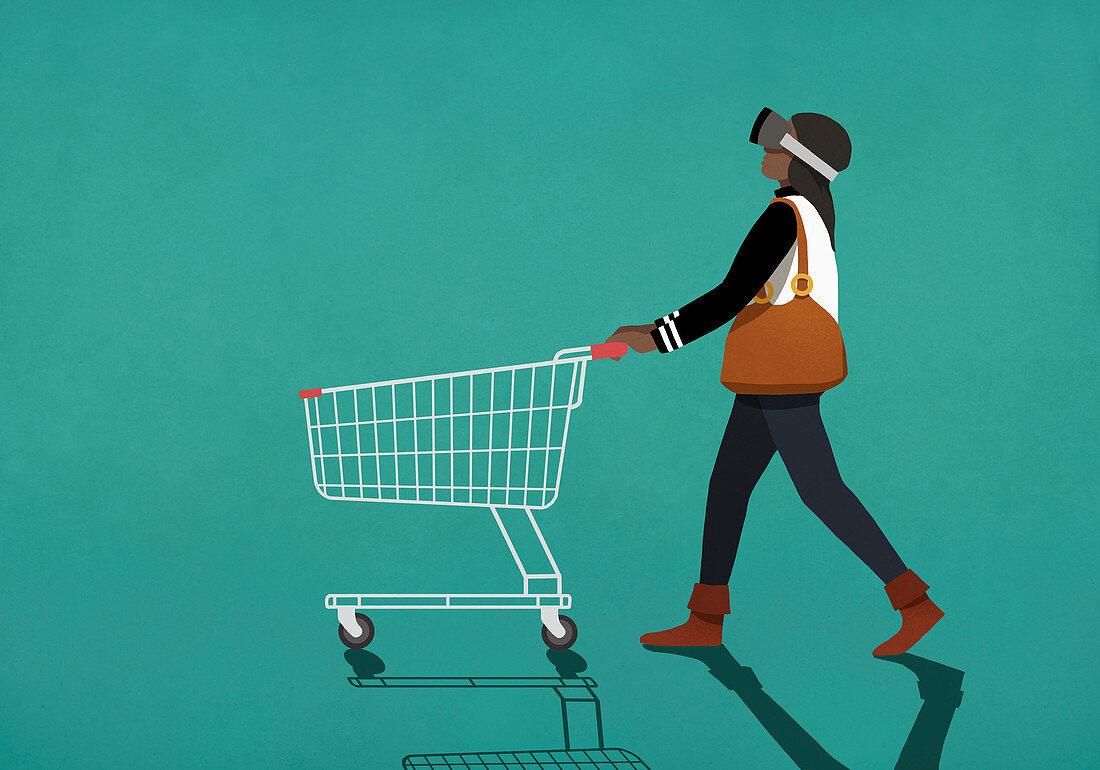 Woman with virtual reality simulator pushing shopping cart (Illustration)