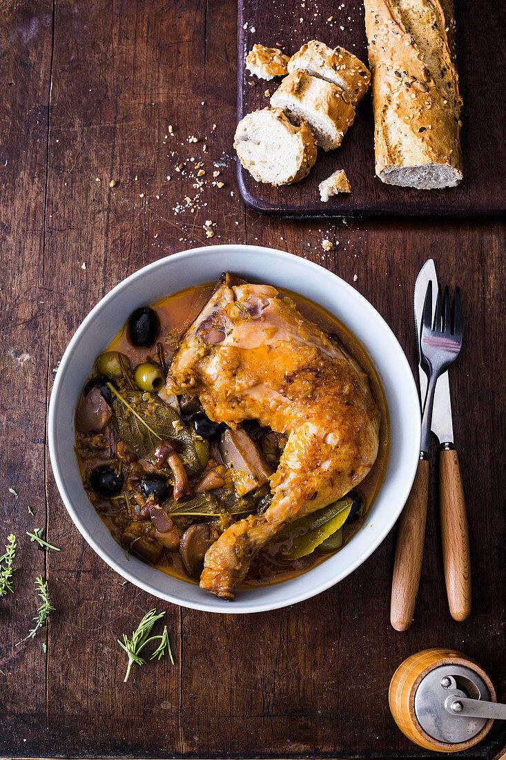 Chicken Boscaiola (Braised chicken with mushrooms and white wine, Italy)