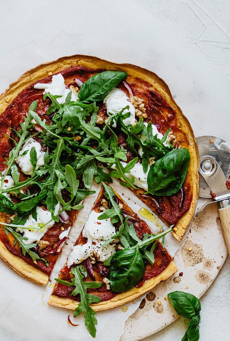 Socca pizza with rocket, burrata and chorizo