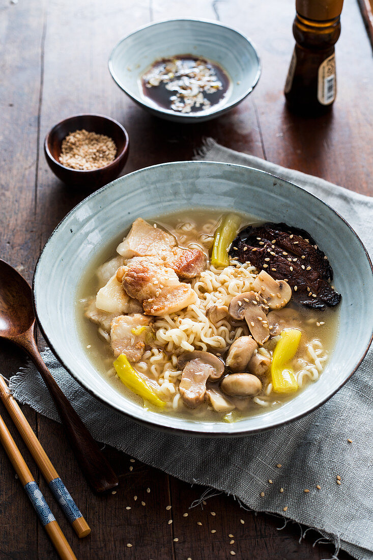 Pork ramen with mushrooms