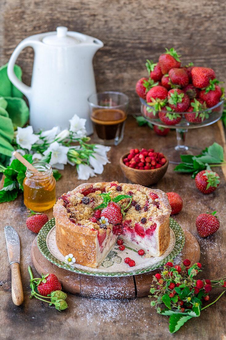 Strawberry quark cake