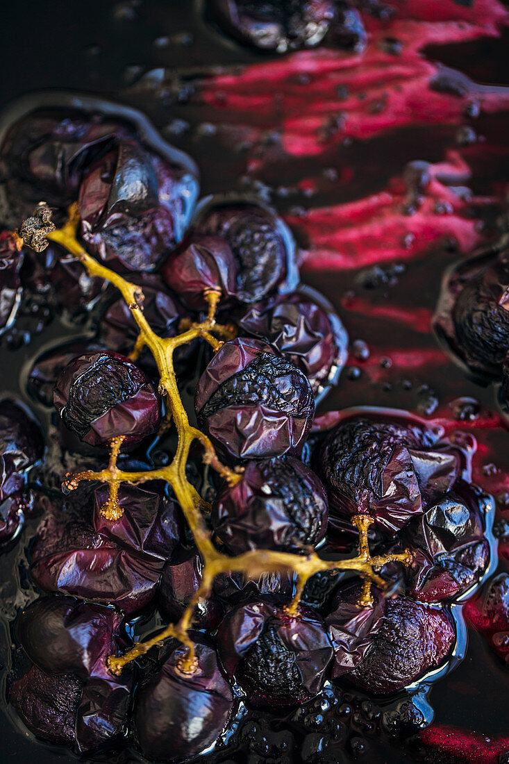 Close up of roasted red grapes