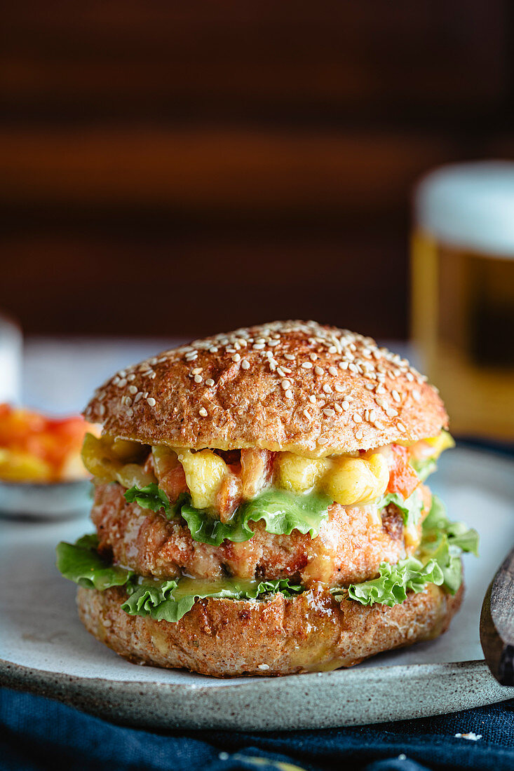 Healthy salmon burger on a plate