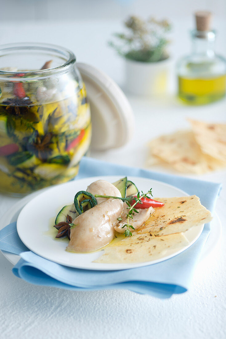 Chicken and zucchini with herbs and spices in oil