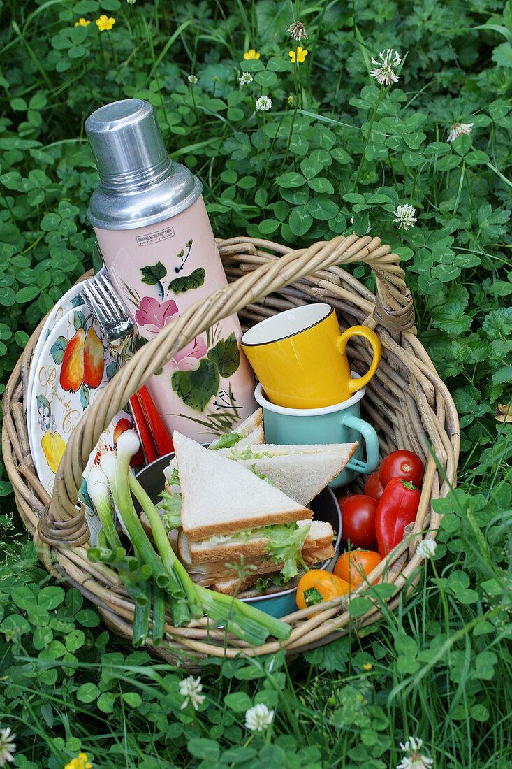 A picnic basket in a field