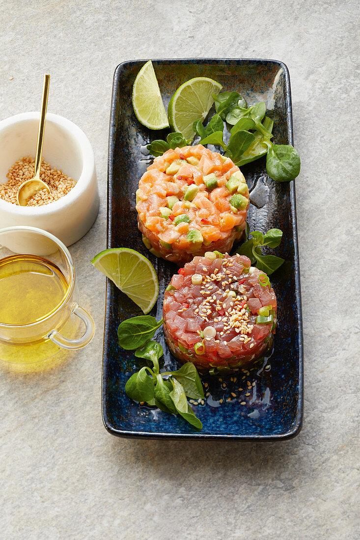 Tuna and salmon tartare with lamb's lettuce