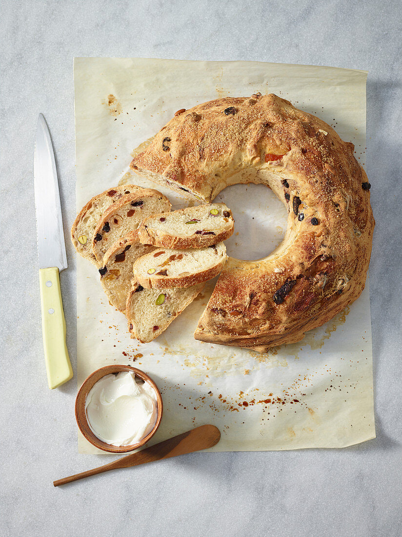 A bread wreath with dried fruit and nuts