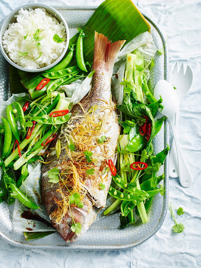 Whole fish with ginger and green onions