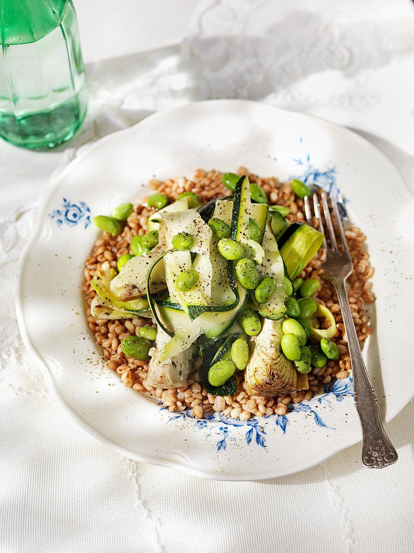 Buckwheat with green vegetable