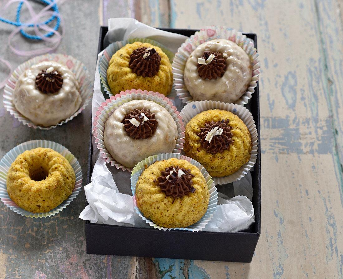 Mini vegan pumpkin and orange Bundt cakes with Earl Grey chocolate cream