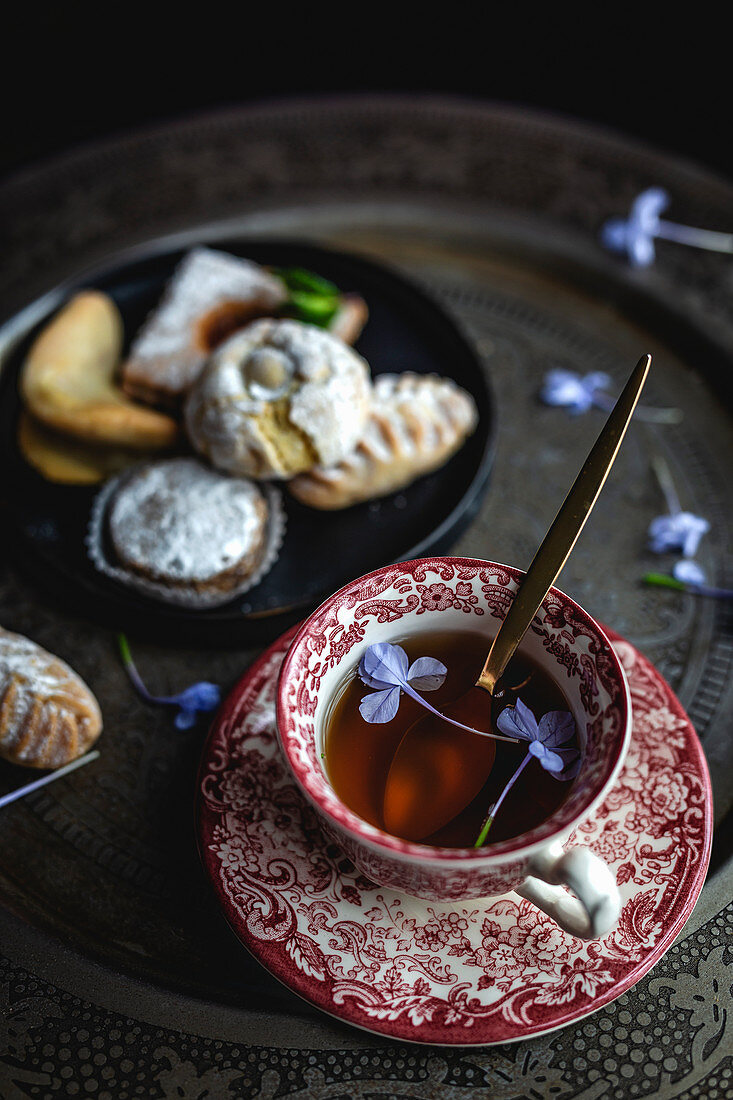 Traditional tea with mint and assorted homemade Arabian sweets