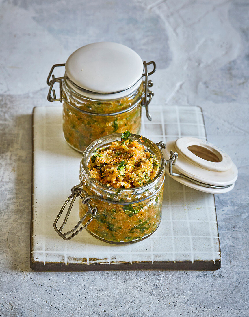 Quick stock paste in storage jars
