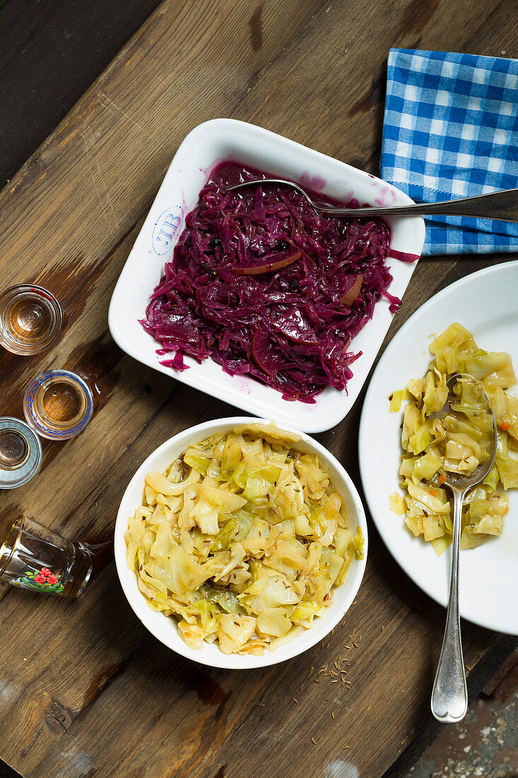 Bavarian red and white cabbage