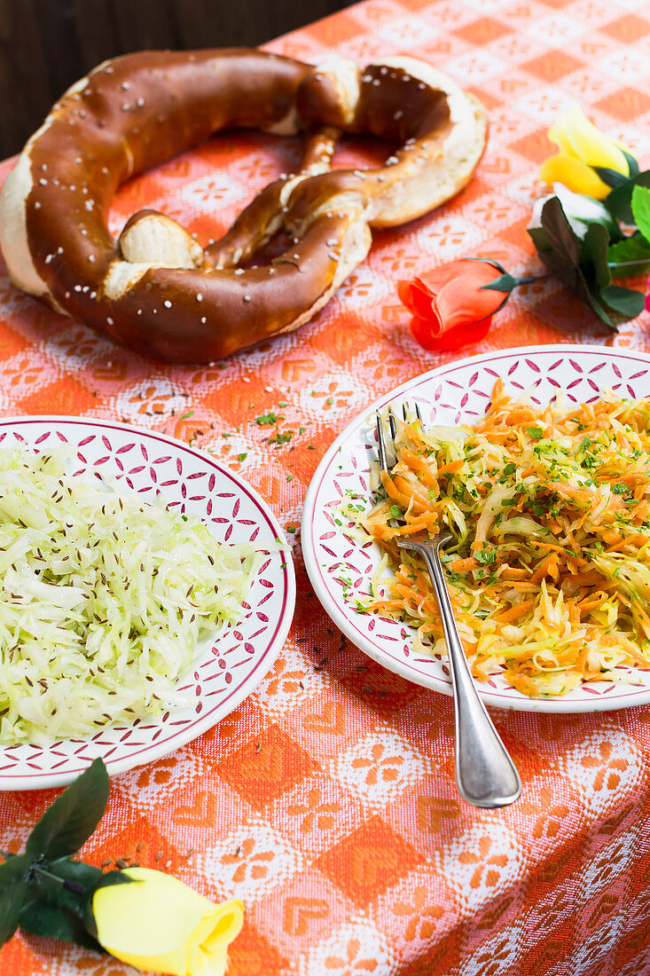 Bavarian coleslaw and carrot coleslaw