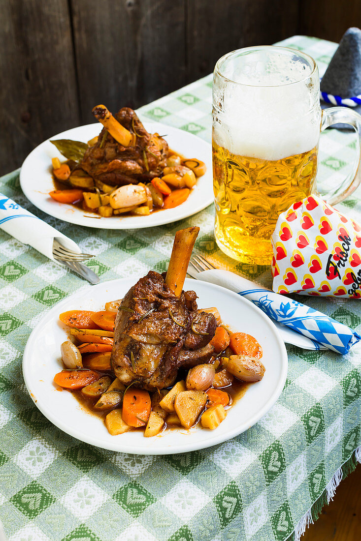 Lamb shanks with vegetables