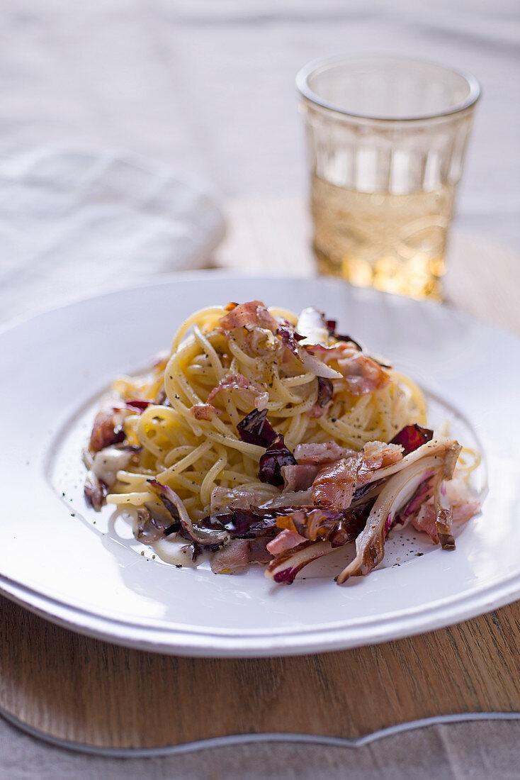Spaghetti cacio e pepe with radicchio