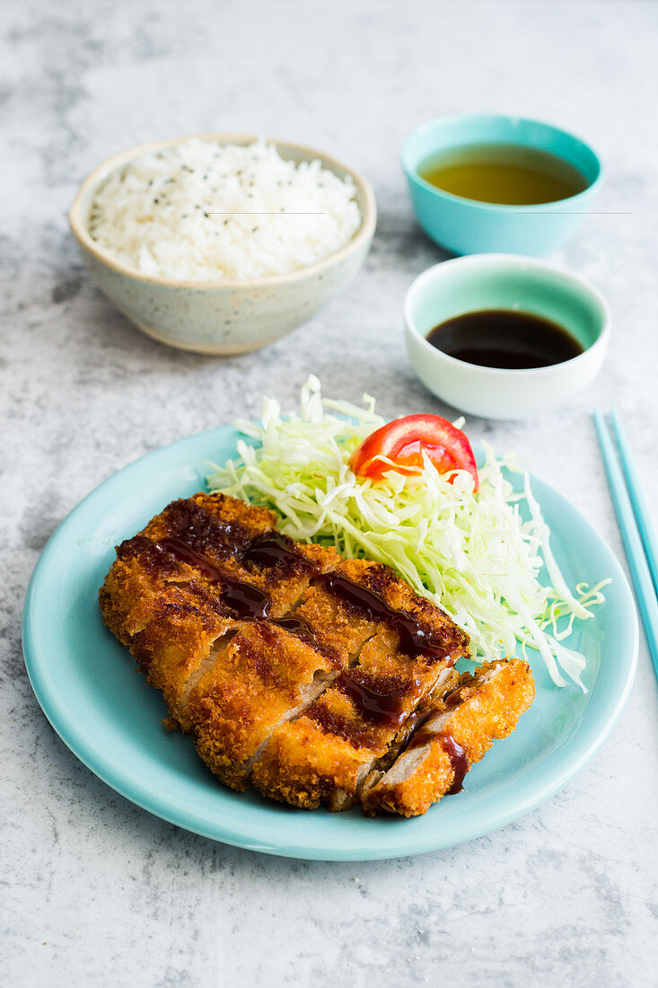 Tonka katsu with salad and rice (Japan)