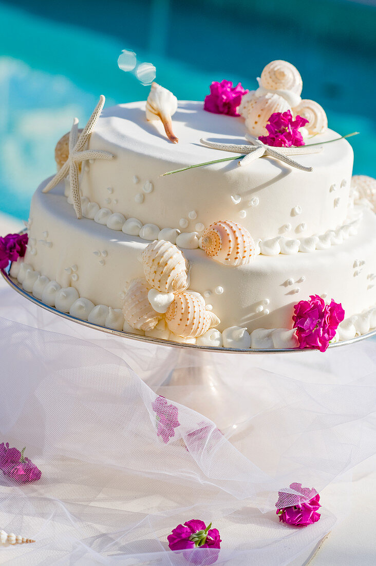 Wedding cake with sea themed decorations