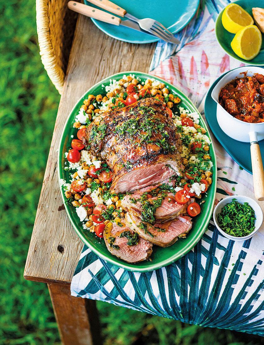 Leg of lamb with chickpea salad and smoky sauce