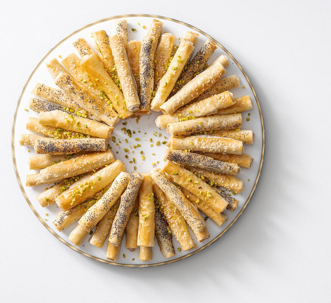Filo pastry rolls wreath