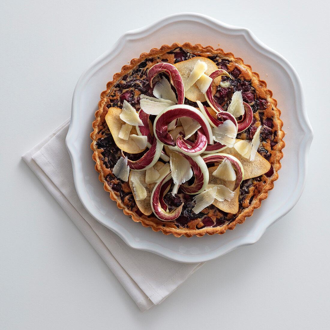 Radicchio and pear tart