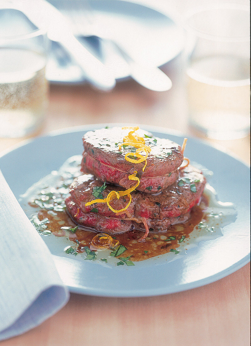 Tournedos with anchovy butter filling