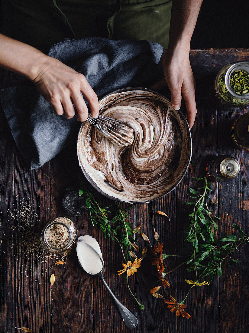 Preparing chocolate biscuit dough