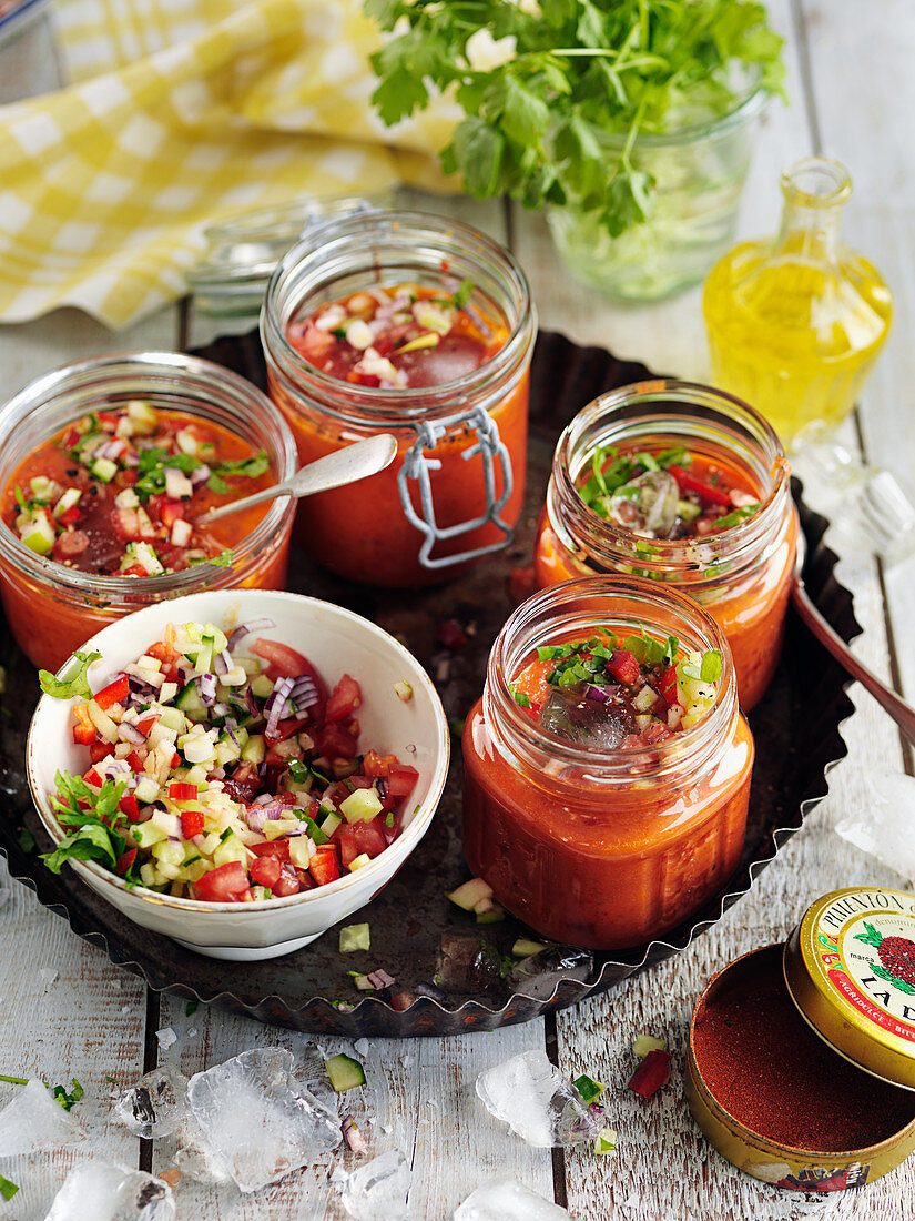 Gazpacho with parsley, oliveoil, tomatoes, onion, cucumber and red pepper