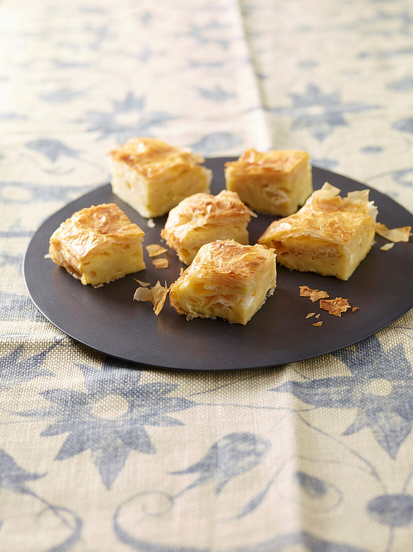 Srpska gibanica (spicy filo pastry cake with cream cheese, Serbia)