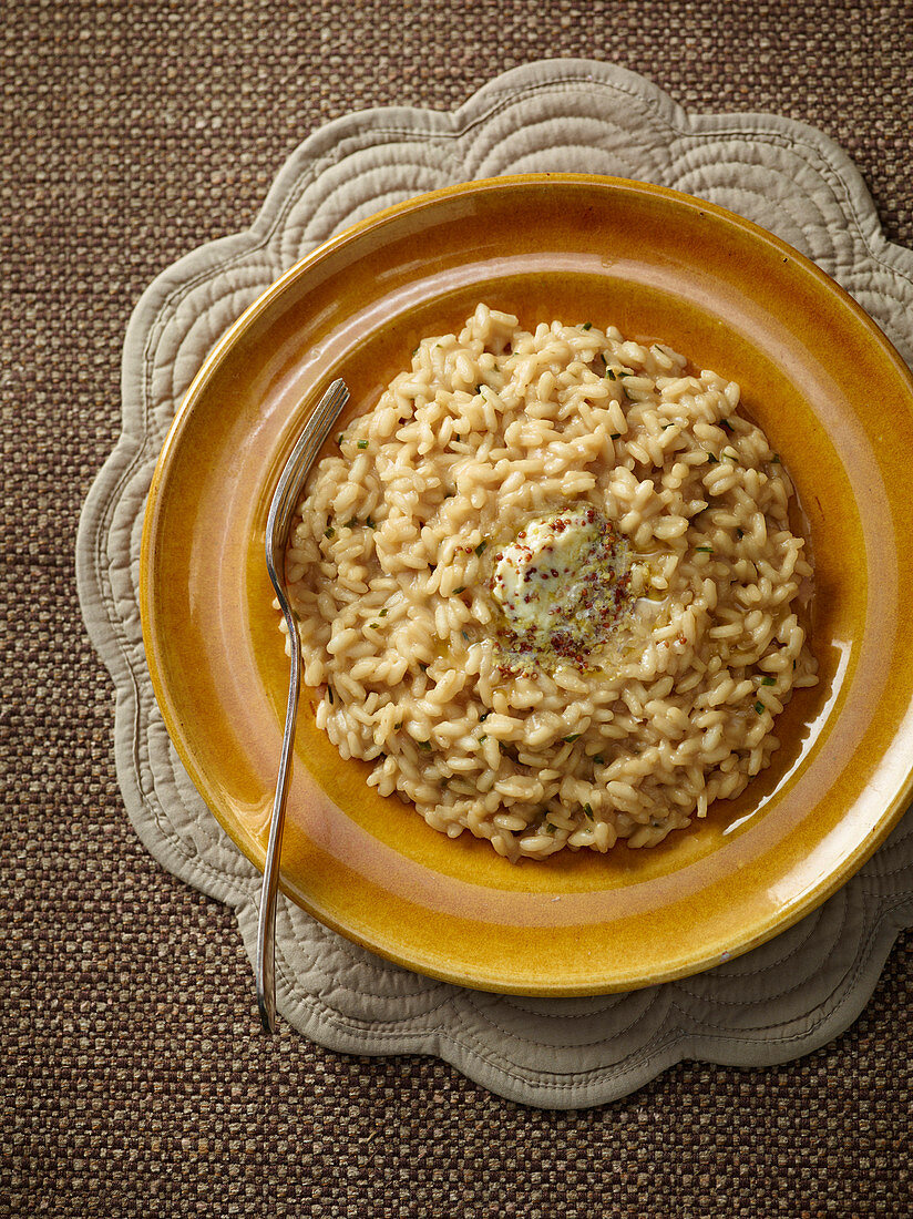 Risotto with beer and mustard butter