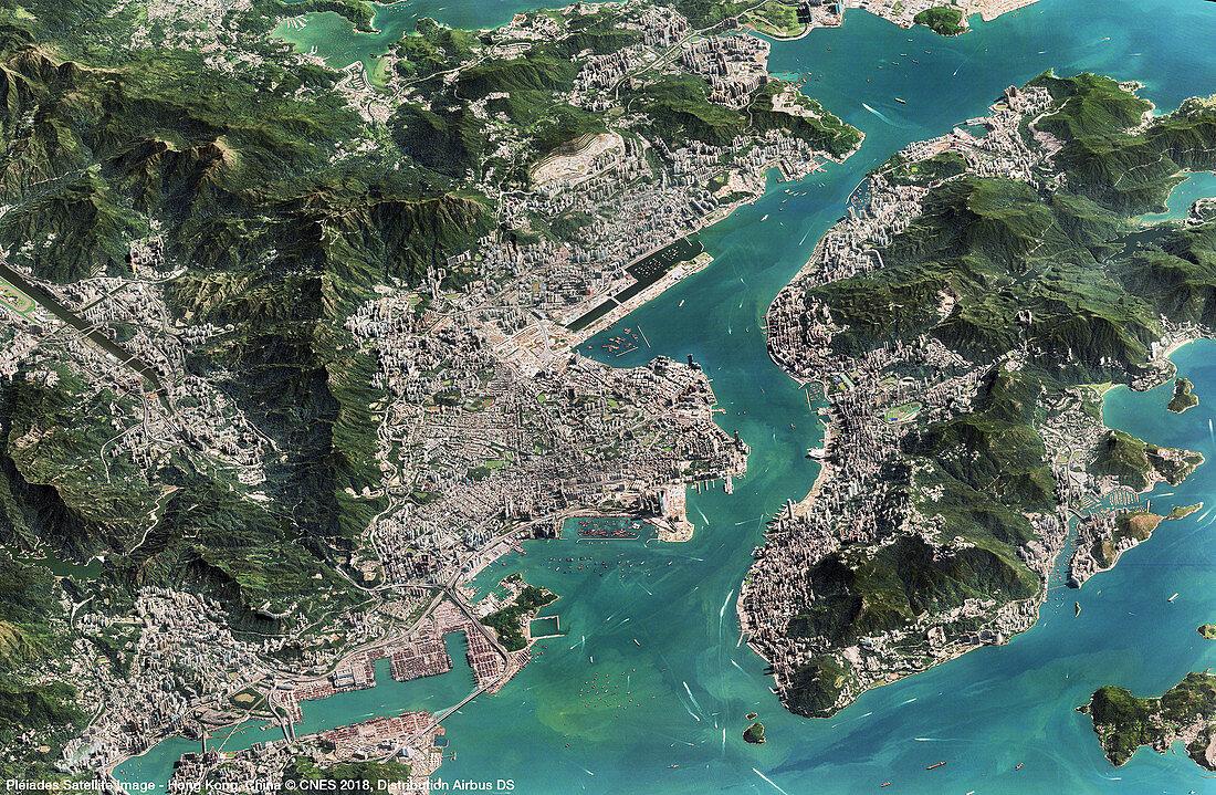 Hong Kong in 2018, satellite image