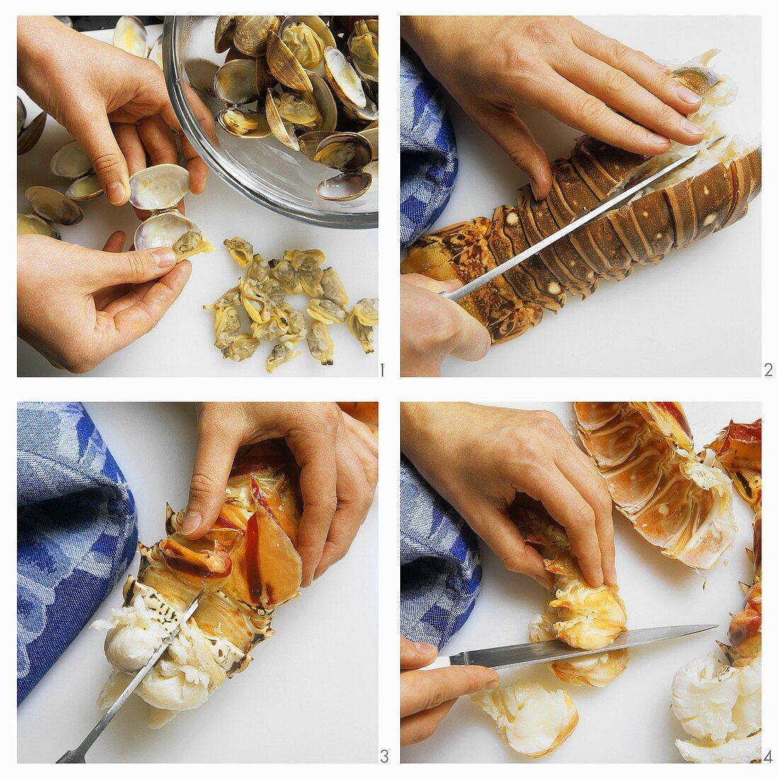 Making seafood salad on ice