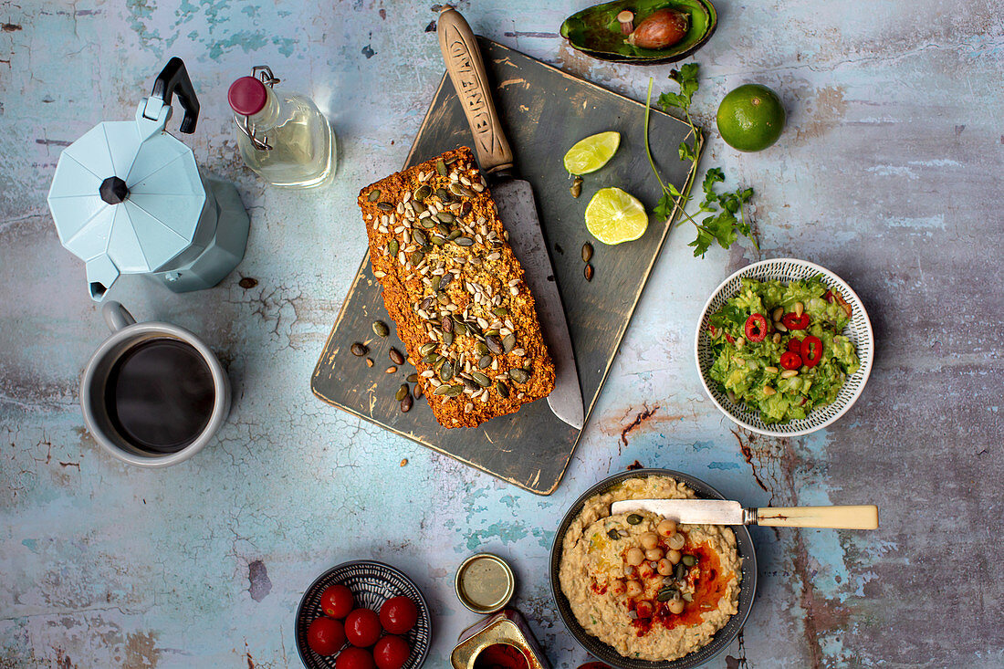 Oat bread with guacamole and hummus