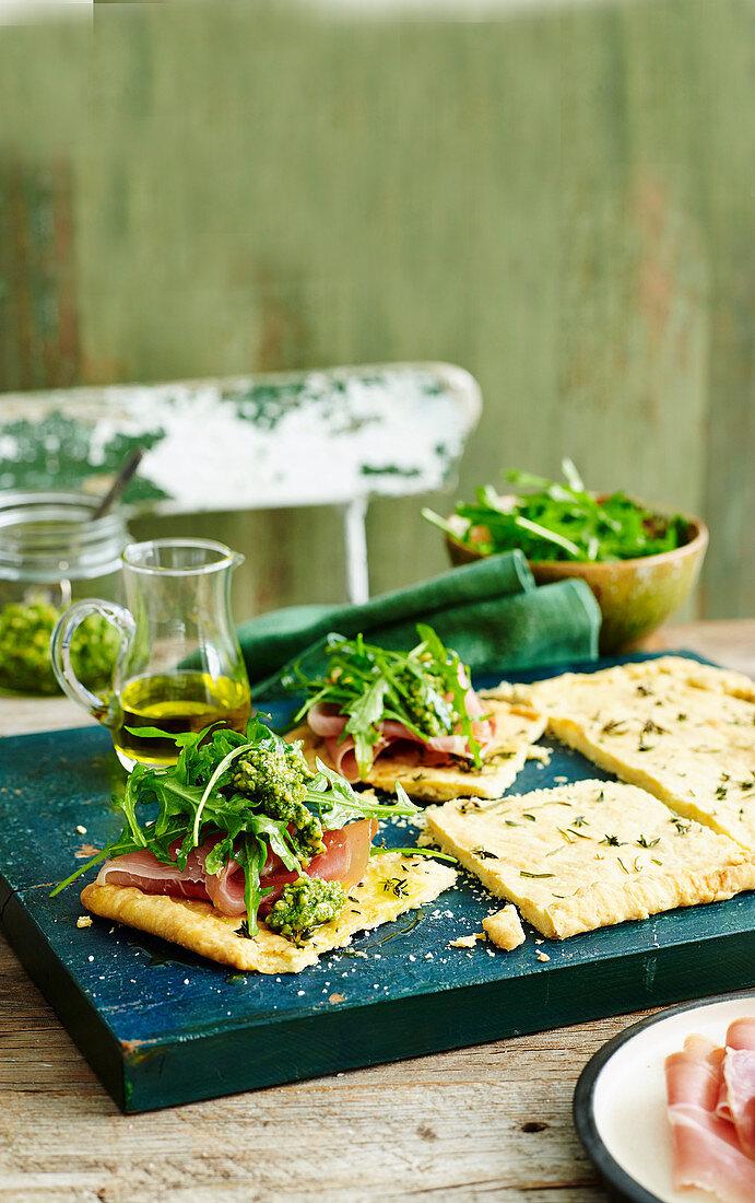 Olive Oil Tart with Prosciutto and Pesto