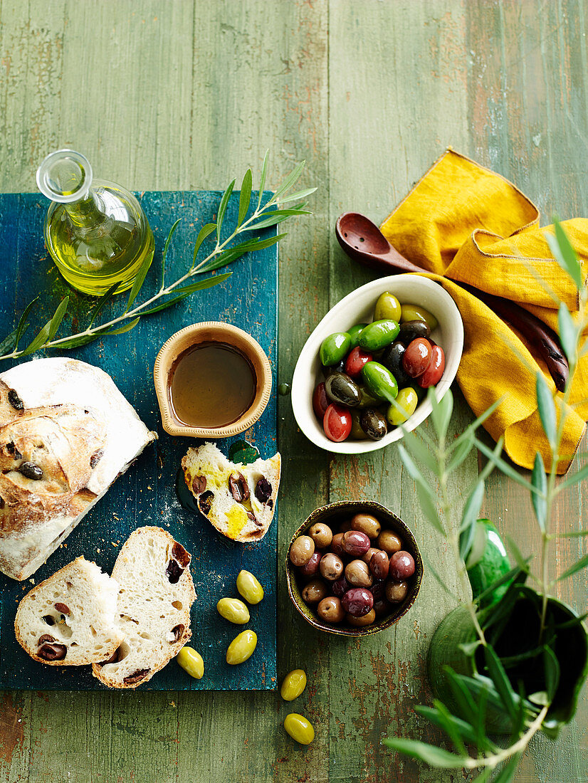 Olive bread, olives and olive oil