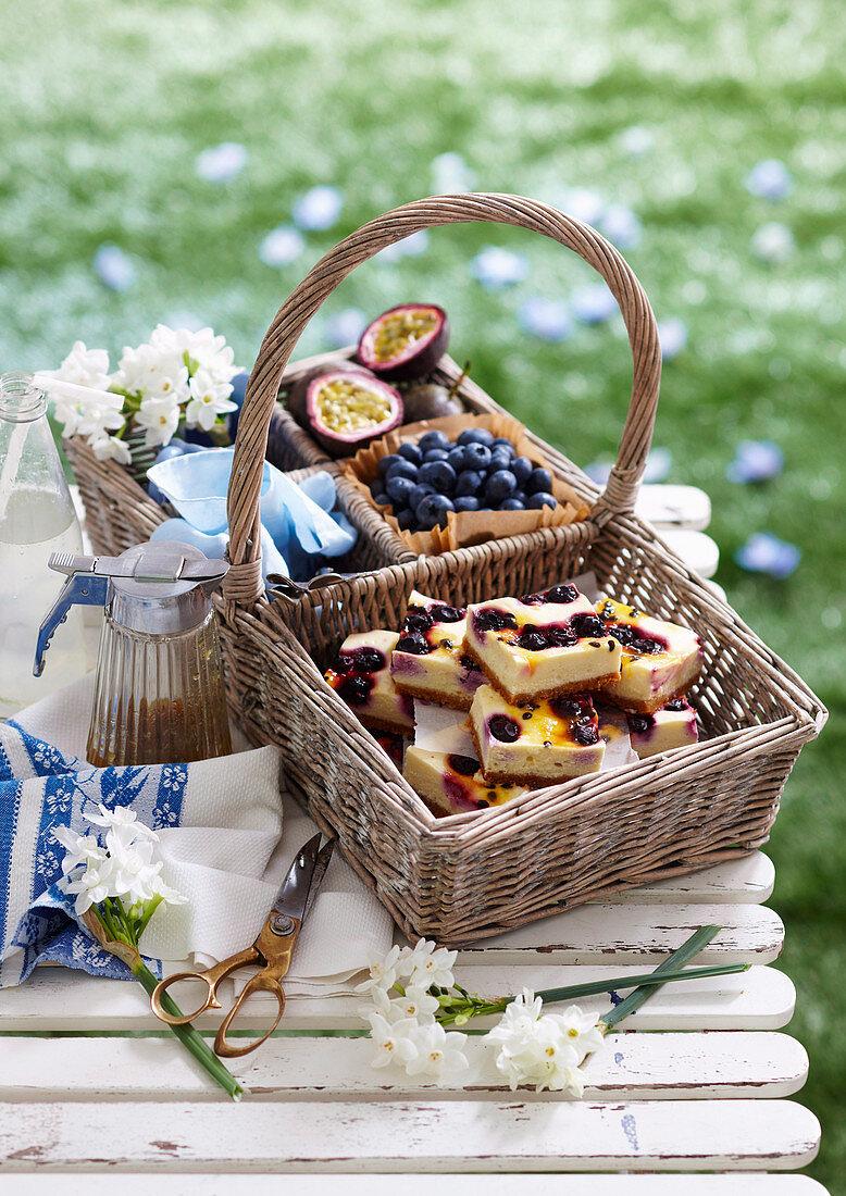 Blueberry Passionfruit Cheesecake Slice